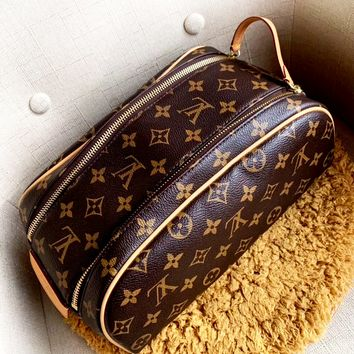 LV classic old flower female retro double zipper wash bag cosmetic bag handbag