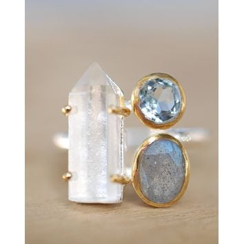 Crystal Ring * Crystal, Blue Topaz & Labradorite * Sterling Silver 925 and Gold Vermeil * BJR055
