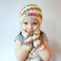 Girls Beanie and Arm Warmer Set in Pink, Green, Yellow and White, ready to ship.