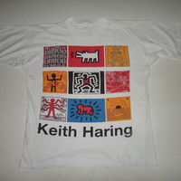 15% OFF Sale Rare Vintage 1980s Keith Haring Pop Art T Shirt Coke New York Art Deco Designer Celebrity Art work Crack is wack Warhol Origina
