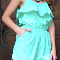 On My Way Up Romper: Mint   Hope's