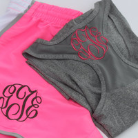 Women's monogrammed running shorts and racerback tank athletic pink and grey summer
