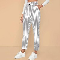 Paperbag Waist Button Detail Striped Pants