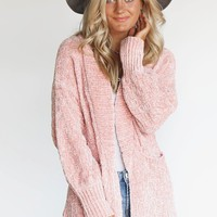 Goodnight & Go Chenille Blush Open Front Cardigan