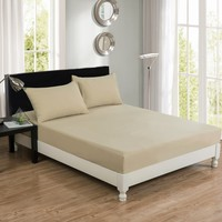 DaDa Bedding Luxury 100% Cotton Beige Fitted Bed Sheet & Pillow Cases Set (JHW-546-Fitted)