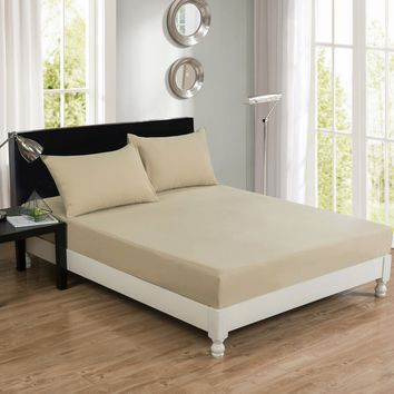 DaDa Bedding Luxury Soft Cotton Beige Fitted Bed Sheet & Pillow Cases Set (JHW-546-Fitted)