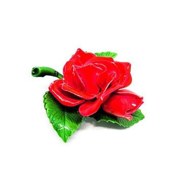 Red Rose Enamel painted vintage brooch with green leaf accents