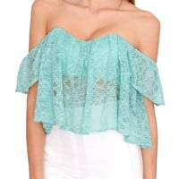 Modern Girl Lace Crop Top - Green