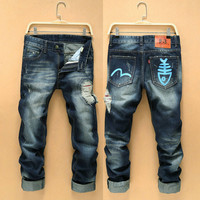 Winter Fashion Korean Men Pants Men's Fashion Slim Jeans [6528465155]
