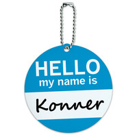 Konner Hello My Name Is Round ID Card Luggage Tag