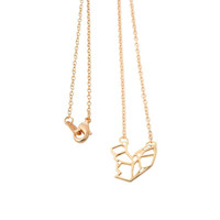 Fashion 18k Gold Plated Cute Origami Squirrel Pendant Necklaces Minimalist Animal Necklaces