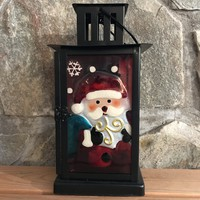 Santa Glass/Metal Holiday Candle Lantern