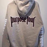 Justin Bieber Purpose Tour World Tour Tan Hoodie Miami Pop Up Shop