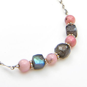Gray Pink Beaded Necklace,  Labradorite Necklace, Bridal Jewelry  Pink Opal and Sterling Silver