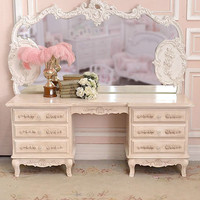 SOLD 8426 - Long Cream Vanity Table with 6 Drawers - $825 - The Bella Cottage
