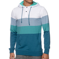 Empyre Spanaway Turquoise & White Striped Hooded Henley Shirt at Zumiez : PDP
