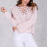Solid sleeve knitted sweater