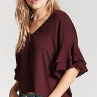 Ruffle Cutout Top