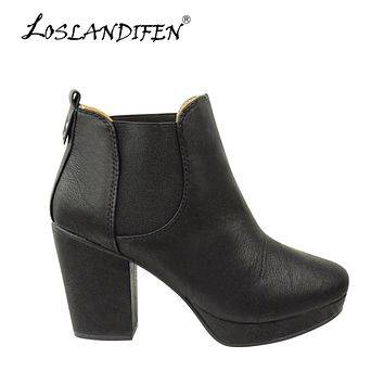 LOSLANDIFEN Winter Warm Brown Boot Ladies Ankle Short Boots Soft Leather Office Pumps Women Thick Heel High Heel Shoes 788-1MA