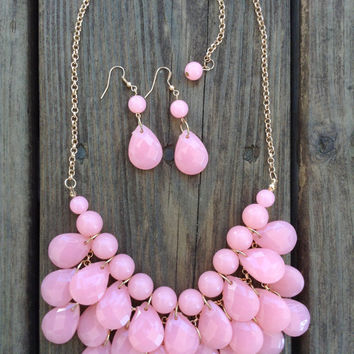 Teardrop Necklace and Earrings in PINK, Kate Spade Necklace, J Crew Bubble Necklace, Anthropologie Necklace Turquoise Aqua