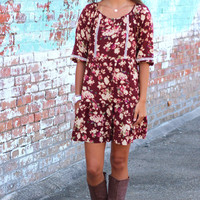 Vintage Florals Dress {Wine}