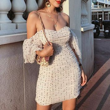 PLEATED OFF-THE-SHOULDER COUTURE DRESS