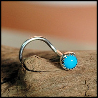 Nose Screw / Nose Stud / 3mm Turquoise in Sterling by RockYourNose