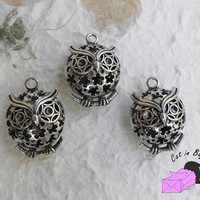 1x Charms with owl (3D) - antique silver tone - SP44