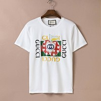 GUCCI GG Les Pommes red and green striped round neck short-sleeved T-shirt