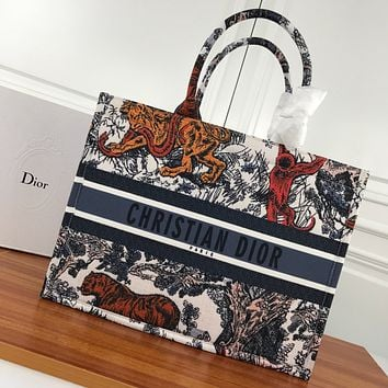 DIOR WOMEN'S CANVAS BOOK TOTE BAG SHOPPING BAG