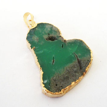 Chrysoprase Mint Green  Flat Pendant  Dipped Gold With Loop, Smooth Surface Gold Green Chrysoprase Necklace Teardrop