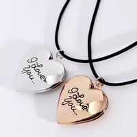 I Love You Heart Photo Locket Gold Silver Plated