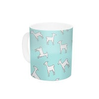 "Monika Strigel ""Baby Llama Multi"" Blue White Ceramic Coffee Mug"