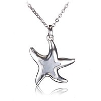 Sterling Silver Mother-of-pearl Inlay Starfish Pendant(Chain Sold Separately)
