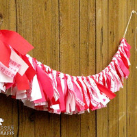 Valentine's Day rag garland, rustic, red, hearts, foxes, valentines mantle decoration,  photo prop, swag, love, hot pink, white
