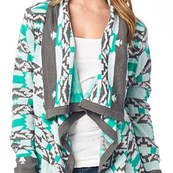 Cool Weather Cardigan - Gray and Mint
