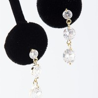 Jewelry & Accessories Triple Threat Round Stone Dangle Earrings - Gold