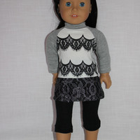 3 piece set! faux lace front shirt, black capri length leggings, grey lace skirt , 18 inch doll clothes, American girl, Maplelea
