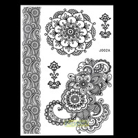 1PC Fashion Flash Nontoxic Tattoo Henna Women Black Flower Jewel Lace Strap Stlye BJ002A Body Art Temporary Tattoo Sheet Sticker