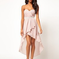 Lipsy Dip Hem Dress With Jewelled Waistband at asos.com