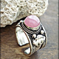 Boho Ring - Tibetan Ring - Boho Quartz Ring - Rose Quartz Ring - Tibetan Jewelry - Hippie Ring - Ethnic Ring - Tribal Ring