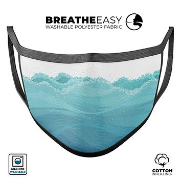 Abstract WaterWaves - Made in USA Mouth Cover Unisex Anti-Dust Cotton Blend Reusable & Washable Face Mask with Adjustable Sizing for Adult or Child