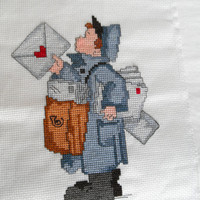 Postman Needlepoint Embroidery Cross Stitch Picture Letter Carrier Mailman The Postman Hummel