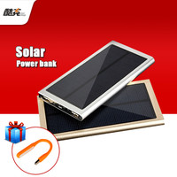 Universal Solar Power Bank 12000mAh Ultra-Thin Metal Solar Charger External Battery Pack Dual USB Charger for all phone
