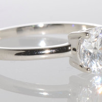 Sterling Silver Engagement Ring 7mm Solitaire Round CZ Wedding