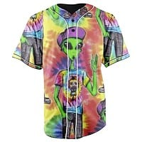 Alien Hippie Tie Dye Button Up Baseball Jersey