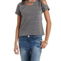 Asymmetrical Cold Shoulder Tee by Charlotte Russe
