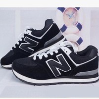 DCCKGQ8 fashion online new balance abric is breathable n leisure sports shoes women s shoes couples forrest gump students running black