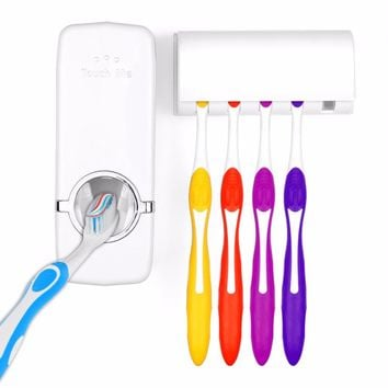 Automatic Toothpaste Dispenser 5 Toothbrush Holder Set Wall Mount Stand toothbrush Family Set Auto Toothpaste Dispenser Squeezer