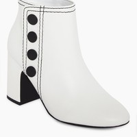 Jace Button Up Calf Booties - Ice White